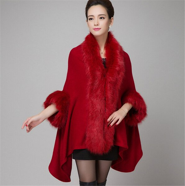Fashion-Knitted Shawls Fox Fur Collar Women Pashmina Wraps Rabbit Hair Cape Jacket Fur Overcoat Imitation Fur Faux Fox Collar
