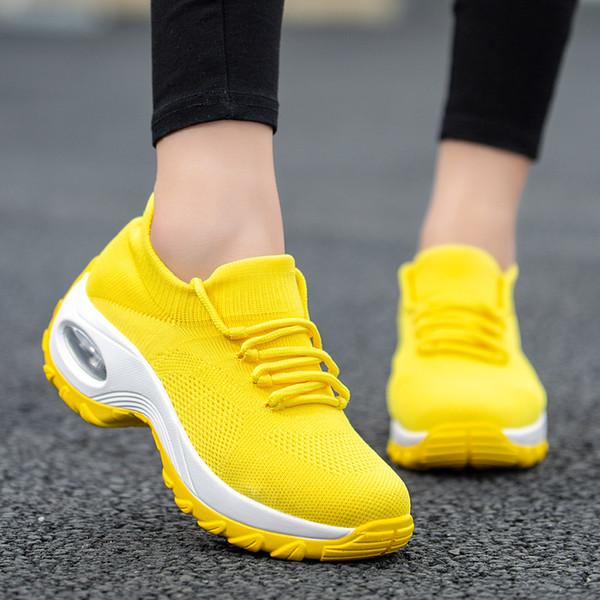 Mulheres Almofada Das Mulheres Tênis 2019 Nova Calçados Esportivos de Corrida Plataforma Sapatos para Meias de Malha Respirável Amarelo Botas 42