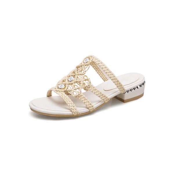 hot 2019 Summer Low Heels Women Slipper Casual Beach Women Sandals Fashion Flip Flops shoes woman Plus size 45 46