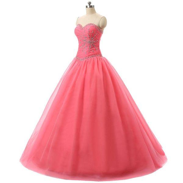 Ballkleid Rosa Tüll Pageant Abendkleider Schatz Mädchen Mode Brautkleid Besondere Anlässe Prom Brautjungfer Partykleid