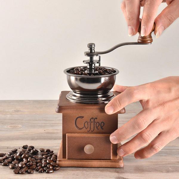 5шт Классических деревянные ручная кофемолка из нержавеющей сталь ретро кофе специя Мини Burr мельница высокого качества керамического Миллстоуна DHL