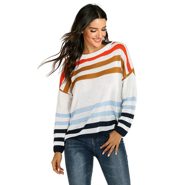 2019 maglione lavorato a maglia da donna a maniche lunghe pullover a righe a maniche lunghe autunno e inverno