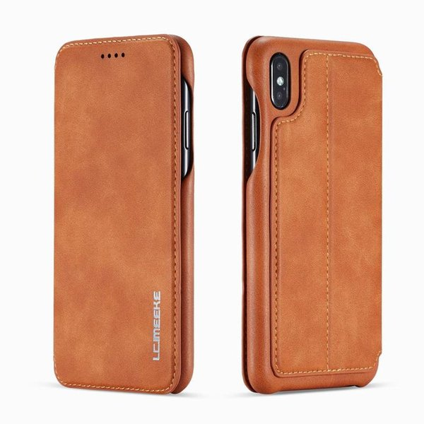 Leather Case For iPhone XS MAX Cover Luxury Flip Magnet Business Vintage Plain Shockproof Coque For iPhone XR XS Wallet Case Men