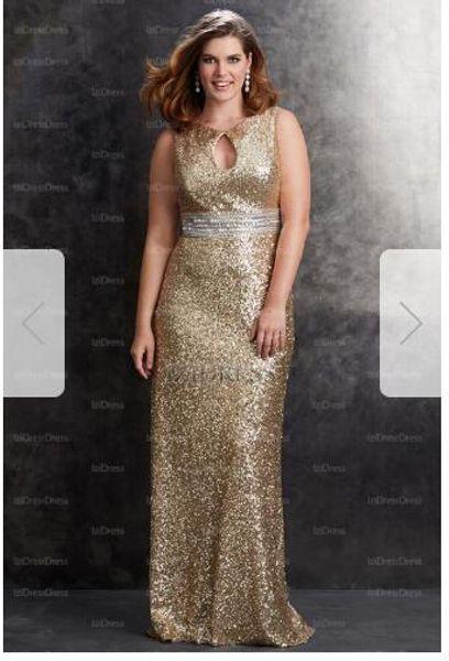 Sheath/Column Jewel Sweep/Brush Train Sequined Plus Size Prom DressT30
