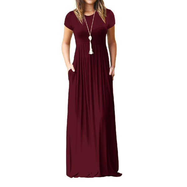 Summer Long Maxi Dress New Short Sleeve Solid Casual Women Dresses Xxl Plus Size 2xl Pockets Robe Summer Dresses Robe Gv598 Y19051001
