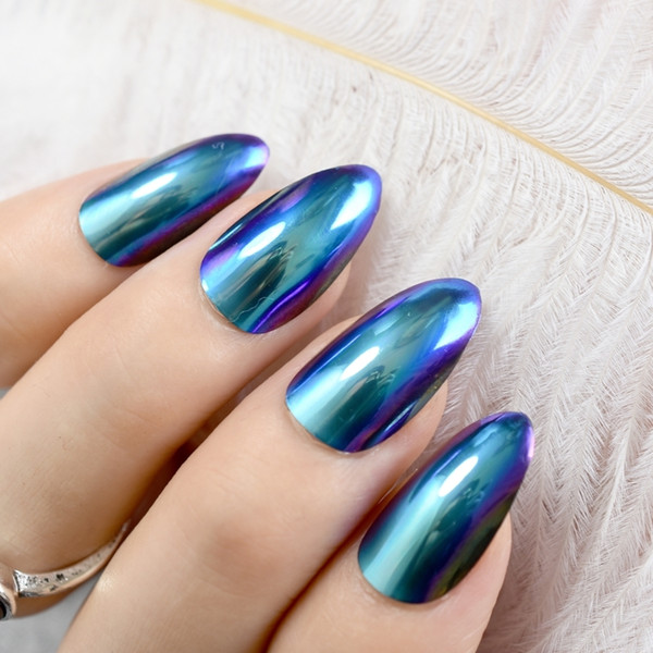 2019 Mirror False Metallic Stilettos Sharp False Nail Metal Blue Purple  Fake Nails Acrylic Artificial Stiletto Art Broadway False Nails Buy False
