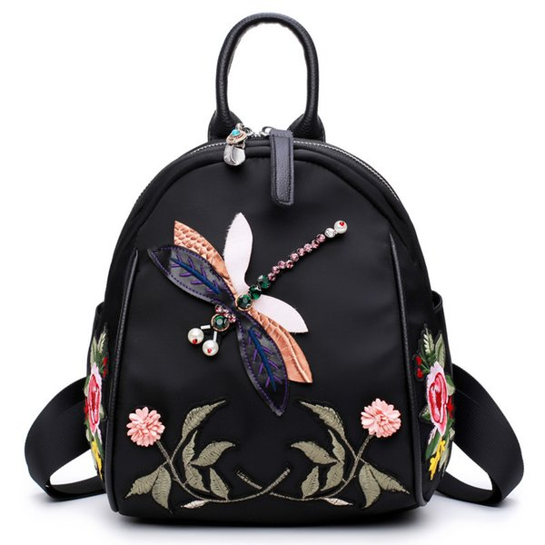 Flower Embroidery Backpack New Handmade Rhinestone Backpack Fashion Women's Fashion Shoulder Bag Dual-use Retro Fashion Bags