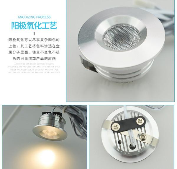 incasso tipo 1-8pcs / kit DC12v 1W led LED Puck / sotto luce cabinet, faretto a LED, guscio d'argento