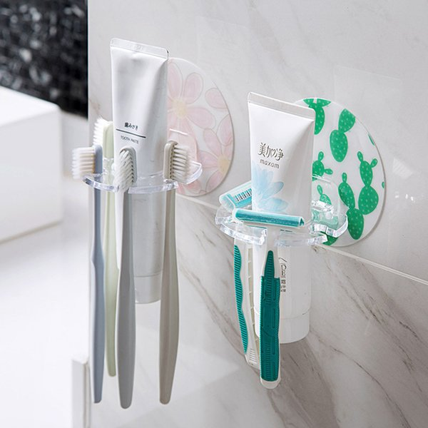 top popular Bathroom Holder Toothbrush Holder Wall Mount Lotion Facial Cleanser Rack Bathroom Storage Hangle Tools Whoelale YQ00805 2021