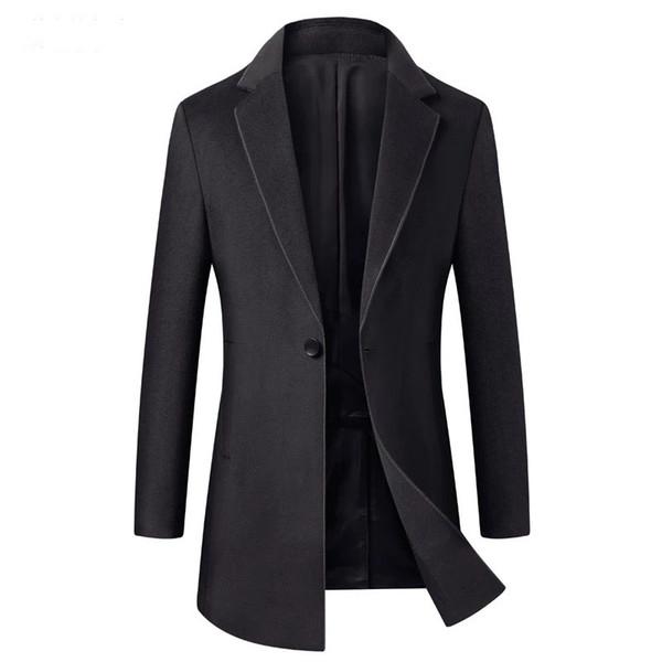 2018 Otoño Invierno Trench Coat Estilo británico Hombres Slim Fit Cashmere Largo Chaqueta de negocios Hombre
