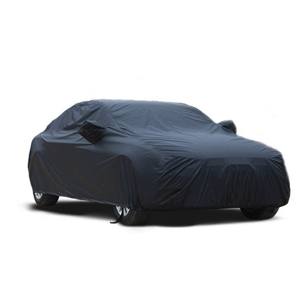 Universal Black Breathable Waterproof Fabric Car Cover w Mirror Pocket Winter Snow Summer Full Car Protection COVERS