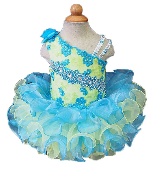 Glitz Pageant Dresses For Girls Little Girl Gowns Beads Crystal Lace Appliques cupcake pageant Tutu dress