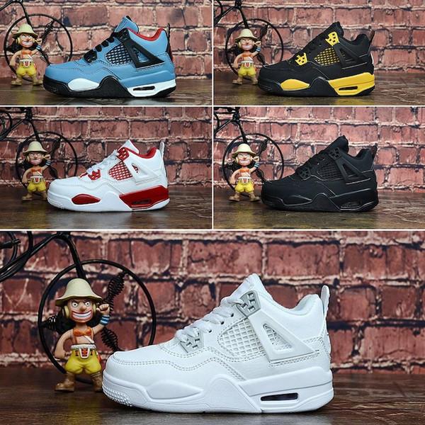 Nike Air Jordan 4 Дешевые 4S баскетбольные кроссовки Чистые белые деньги Blue Denim Джинсы дети J4 рейсы Jumpman IV кроссовки теннис