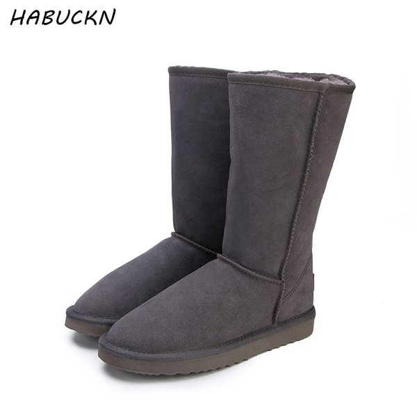 HABUCKN high snow boots for women winter shoes sheepskin leather fur lined big girls tall wool thigh winter boots black