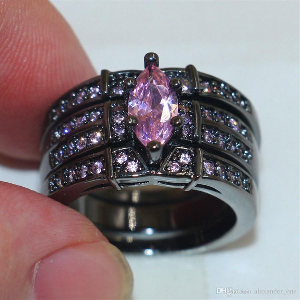 Fashion 10KT Black gold filled gemstone Ring Finger Lady Marquise Cut Pink Simulated Diamond Zircon Rings Wedding Bride jewelry for Women