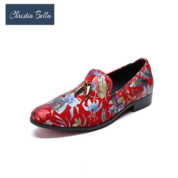 Christia Bella Renkli Baskı Erkekler Loafer'lar Moda Metal Kolye Hakiki Deri Erkek Ayakkabı Büyük Boy Resmi Parti Ayakkabı üzerinde Kayma