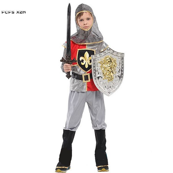 M XL Boys Halloween Rome Warrior Crusaders Costumes Kids Children Swordsman  Knight Cosplay Carnival Purim Masquerade Party Dress Adult Couple