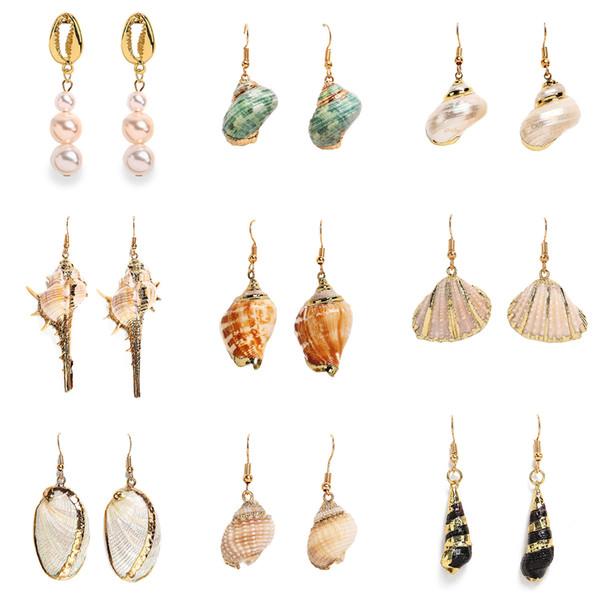 INS europäischen und amerikanischen Originalität Retro-Farbe Muschel vergoldete Ohrringe verkaufen neue Strand Muschel Ohrringe