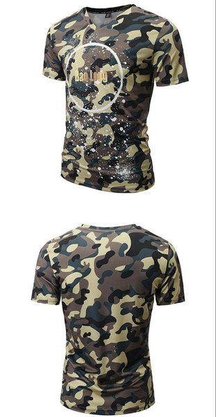 Wholetide Nice Summer Fashion V Collar T-shirt, Mens Camouflage Print Short Sleeve Casual Cotton Couple Sweetheart T-shirt