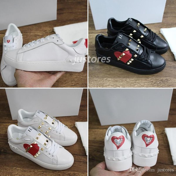 2018 TOP Fashion Designer Shoe Loved Series Untitled Studs Genuine Leather Open SneakerS Valentines Day Luxury Shoe Woman Casual Shoes