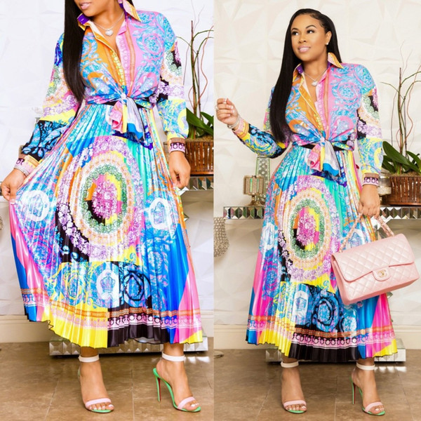 best selling Latest Design Floral Printed Two Pieces Party Dress Sets 2019 Charming Long Sleeves Shirt and Pleats Skirt Ankle Length Separate Sell 1piece