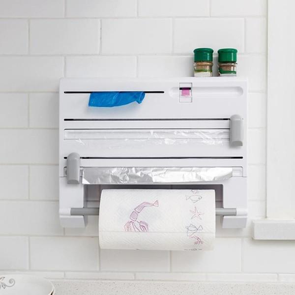 Küche Wand Lagerregal multifunktionale 6 in 1 Aluminiumfolie Papierhandtuchhalter Wrap Cutter Gewürzglas Halter Küche Regal Rack