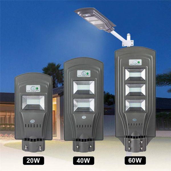 Solar Street Lights Outdoor Commercial Motion Sensor, Light Sensor Dusk to Dawn Super Bright, LED All in One Solar Powered Lamp