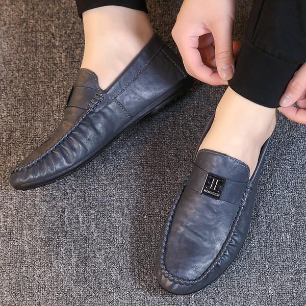 Ocio Sólido Primavera Otoño Hombres Mocasines ligeros Cómodo Moda Suave Zapatos de conducción planos Clásicos Zapatos antideslizantes concisos
