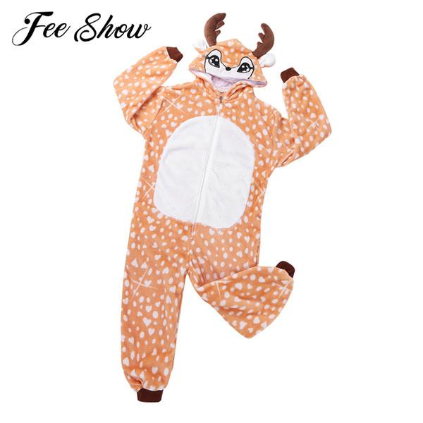 kids boys girls cute animal deer hooded blanket pajamas sleepwear christmas cosplay costume christmas deer nightwear pyjamas