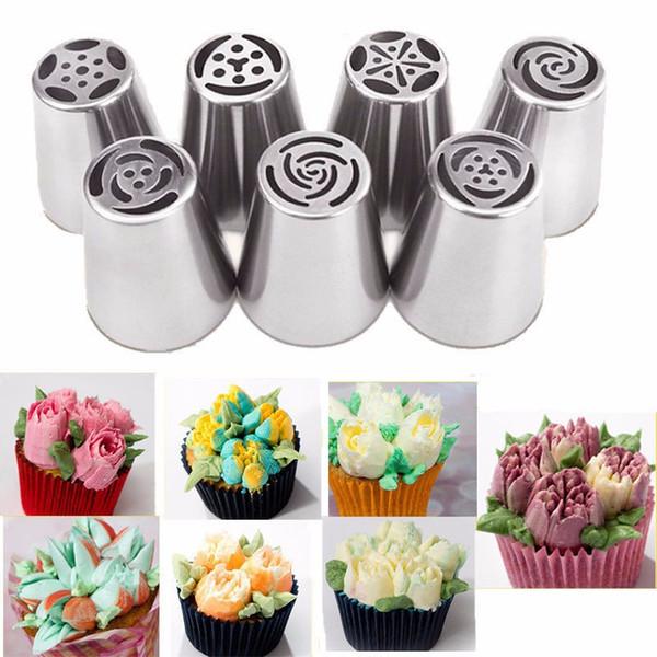 Boquillas de formación de hielo 7 Unids / set Boquillas de Pastelería de Tulipanes Rusos Para Pastel de Crema Consejos de Decoración de Crema Hornear / Herramientas de Pastel