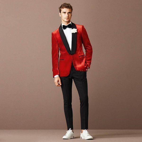 Nouvelle conception populaire un bouton tuxedos de marié de mariage rouge châle revers garçons d'honneur mens costumes de blazer (veste + pantalon + cravate) 409