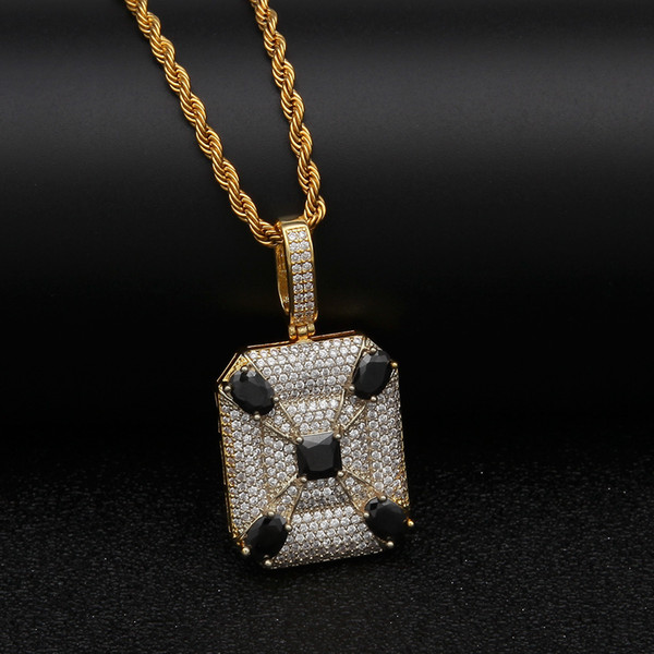 Hip Hop Iced Out Cubic Zircon Micro Paved Black CZ Square Pendant Necklace Gold Silver Plated Men's Jewelry Christmas Gift