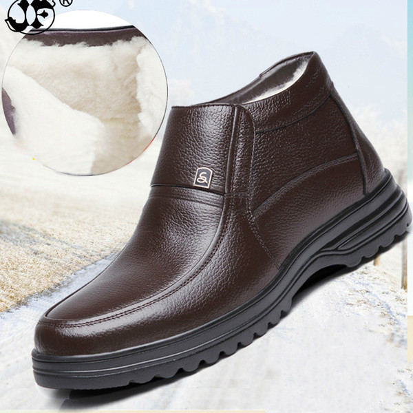 Men's Boots Winter Snow Cow Leather Boots Plush Keep Warm Business Male Cotton Shoes 2018 Hot Sales 988