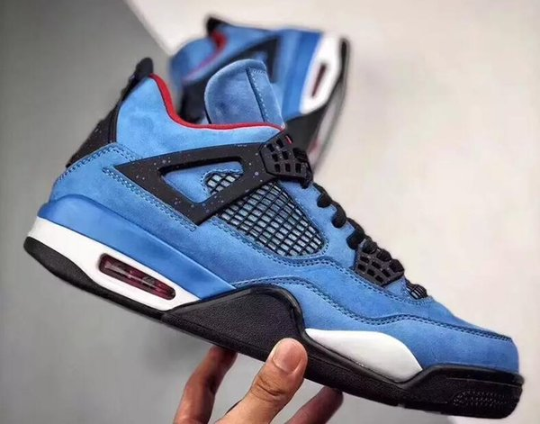 2019 Travis Scott 4s Oilers 4S Cactus Jack IV Blue Suede Men Basketball Shoes Limited Sneakers v00b