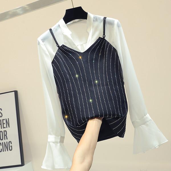 V-образный воротник шифон блузка + бриллиантовый слинг жилет женская рубашка с рукавами корейского рога 2019 весна леди блузка новый комплект из двух частей Femme