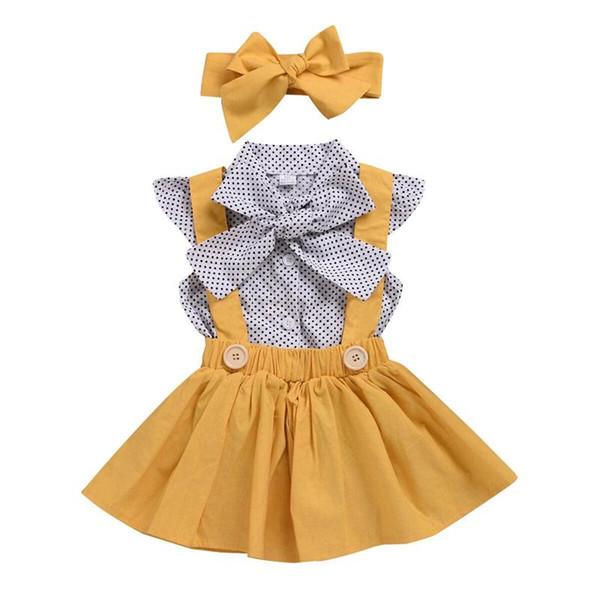 Baby-Punkt-Punkt-Hülsen-T-Shirt Tops mit Bogen + Hosenträger-Rock + Stirnband 3pcs / set Party-Kleid-Sommer-Kleidung scherzt Boutiquekleidung