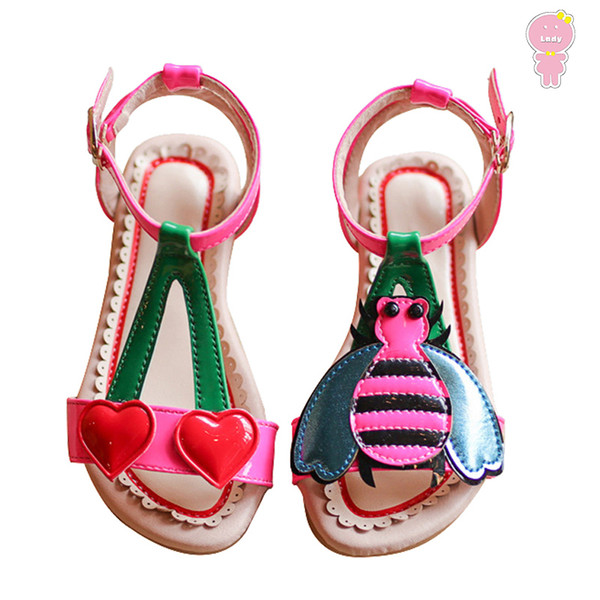 Summer Girls Sandals Baby Beach Kids Children Shoes For Toddler Cherry Bee Patch Patent Leather 1 To 8 Yrs MX190727