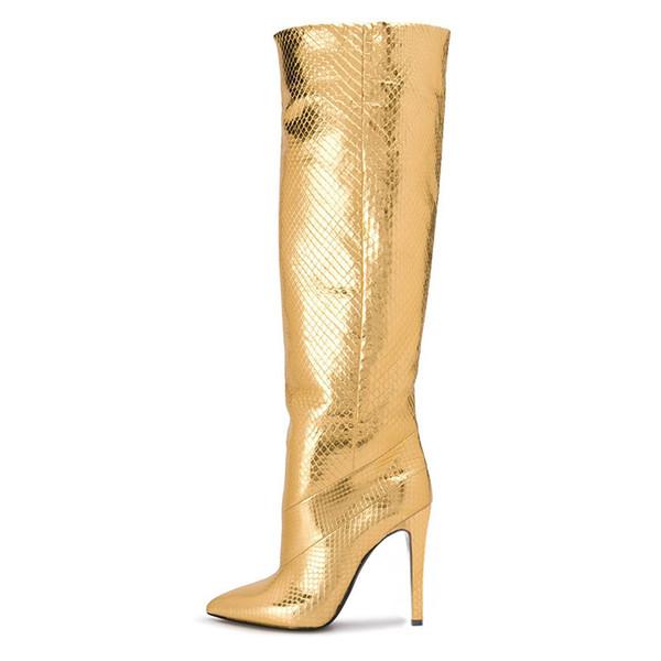Designer Schuhe 2019 neue feste Mode Stiefel dünne Ferse spitze Zehe Gold High Heels Winter Slip auf Oberschenkel hohe Stiefel Frauen Schuhe Botas