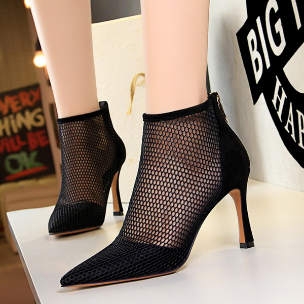 best selling Sexy black meshy pointed pumps luxury women designer shoes ankle bootie red khaki size 34 to 40 Come With Box