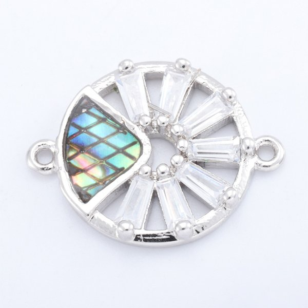 Singreal Abalone Shell Micro Pave Evil Eye Charms Bracelet necklace Choker Pendant connectors for women DIY Jewelry making