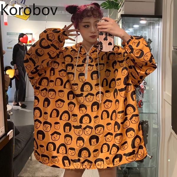 Korobov coreano allentato casuale con cappuccio donna cappotti Harajuku fumetto stampato a maniche lunghe giacche Ulzzang protettore solare 78217