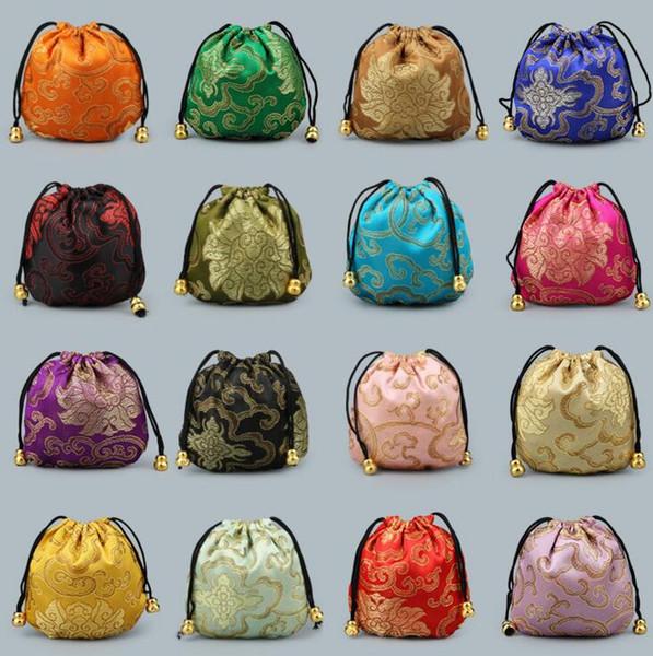 Sacs en soie style chinois poche cordon sac de fête de mariage sac de bonbons bijoux sac d'emballage sac de soie cadeau de brocart pochette cordon porte-monnaie CLS214