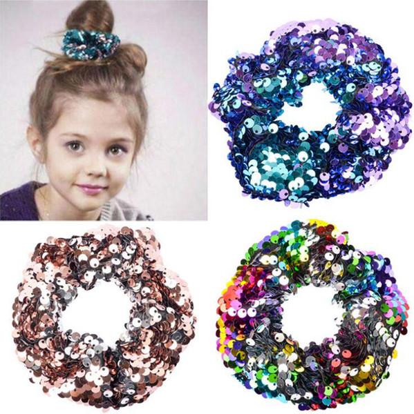 Sequins Hairband Denizkızı Döner Glitter Saç Kravatlar Şapkalar Ponytail Tutucular Halat Elastik Saç Bantları Çocuk Saç Aksesuarları OOA7489-16