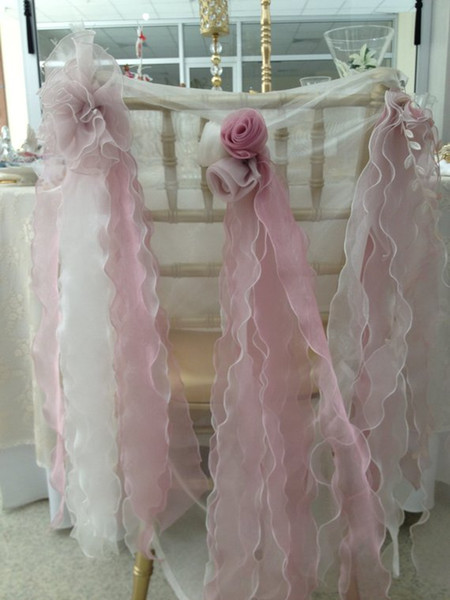 Custom Made Hand Made Flowers Ruffles Wedding Chair Covers Beautiful Cheap Wedding Party Decorations Vintage Chair Sashes Supplies C02