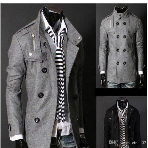 Ücretsiz Kargo Siyah / Gri Erkek Yün Coat Çift Breasted Omuz Epaulets Uzun Hendek Coats Dropshi Ücretsiz Kargo