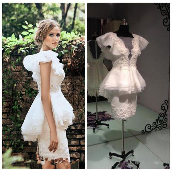 Krikor Jabotian Hülle Perlen 2019 Perlen Schößchen Rüschen Benutzerdefinierte Vestidos De Little White Beach Brautkleider Hochzeit Party Kleider