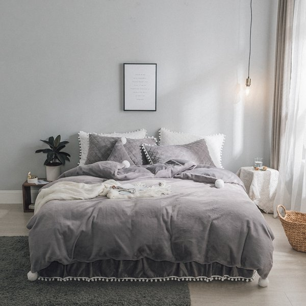Twin Queen King Size Princess Bedding set White pink grey Fleece Warm Duvet Cover bed set Bedskirt Bedspread parure de lit