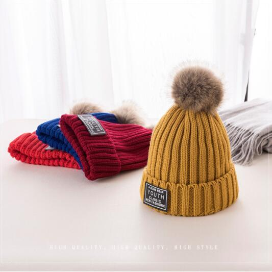 warm fur hat for women girl autunm winter cap joker outdoor prevent fine hair ball knitted turtleneck cap