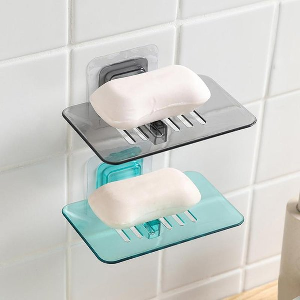 Strong Suction Cup Soap Dish Wall Tray Soap Storage Box Holder for Bathroom Plastic Tray Accessories Boxes Shelf Soap Rack