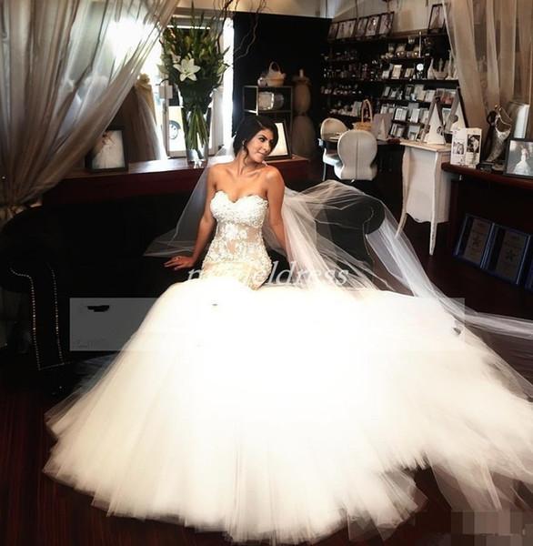 Charming Mermaid Wedding Dresses 2019 Sweet Heart Sweep Train Lace Appliques Arabic Chapel Garden Country Bridal Gowns vestido de novia